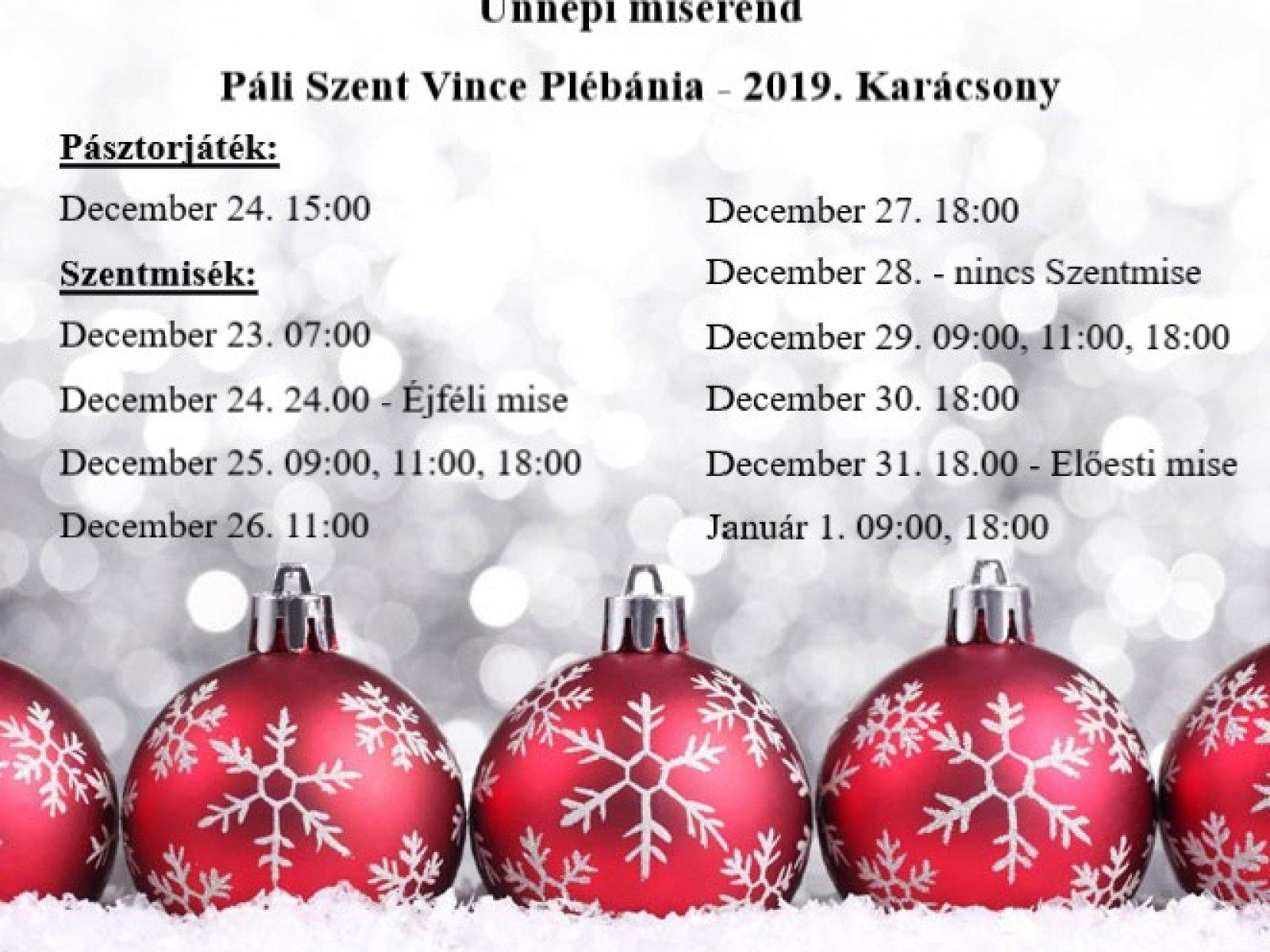 Karácsonyi ünnepi miserend 2019
